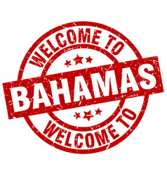 Welcome to bahamas red stamp vector