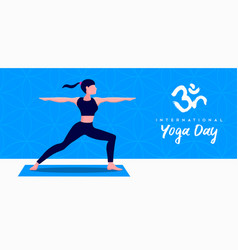 Yoga day banner woman in warrior pose vector