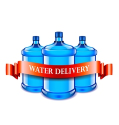 Big bottles and red ribbon water delivery concept vector