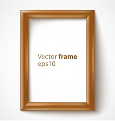 Light wooden rectangular 3d photo frame with vector image vector image