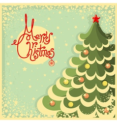 Vintage Christmas card with tree and text vector image