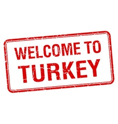 welcome to Turkey red grunge square stamp vector image vector image