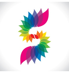 creative colorful leaf icon vector image vector image