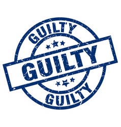 Guilty blue round grunge stamp vector
