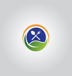 leaf vegetarian logo vector image vector image