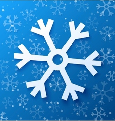 Paper abstract snowflake on blue background vector image vector image