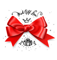 red gift bow satin isolated red glamour bow for vector image