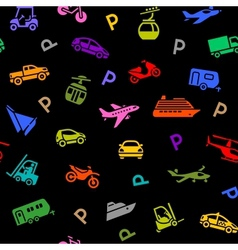 Seamless backdrop transport colored icons vector image