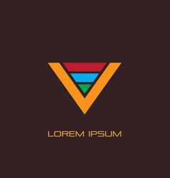 letter v triangle business logo vector image