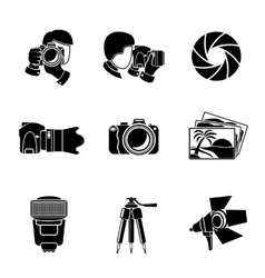 Photographer monochrome icons set with - shutter vector image vector image
