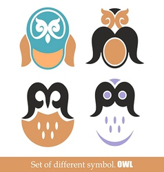 set of symbols owl vector image