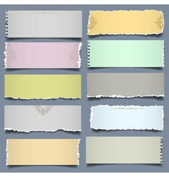 Ten notes paper in pastel colors vector image