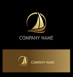 golden yacht boat sail logo vector image