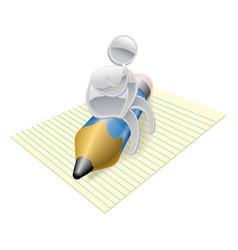metallic character writer thinking vector image vector image