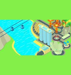 singapore horizontal banner cartoon style vector image