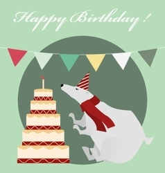 Vintage birthday card with white bear and cake vector