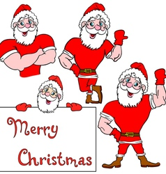 A set of pictures muscular Santa Claus vector image