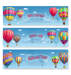 Banners for hot air balloon tourism voyage vector