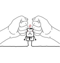 Big hands and cartoon businessman - under pressure vector