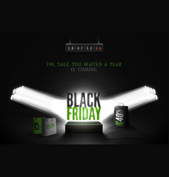 black friday countdown realistic banner vector image