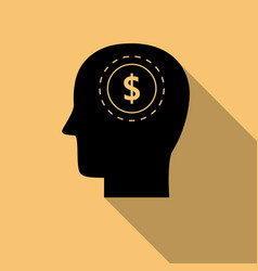 black head with dollar symbol icon with long vector image