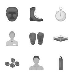 Boxing set icons in monochrome style Big vector