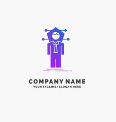 Business connection human network solution purple vector