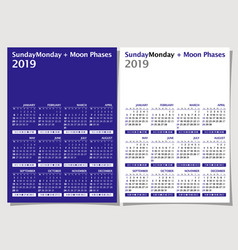 Calendar 2019 week starts from sunday moon phase vector