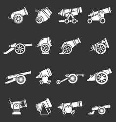 Cannon retro icons set grey vector
