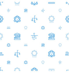 Carousel icons pattern seamless white background vector