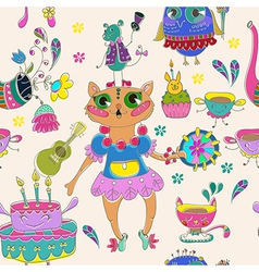 Cartoon color animal party vector image