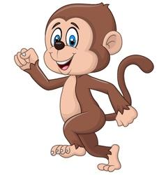 Cartoon funny monkey running isolated vector