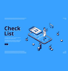 check list online survey isometric web banner vector image