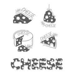 cheese icons flat silhouette vector image