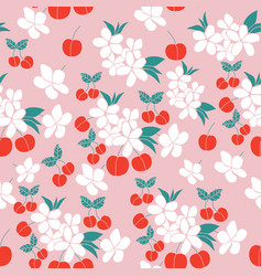 Cherries and flowers in a seamless pattern vector