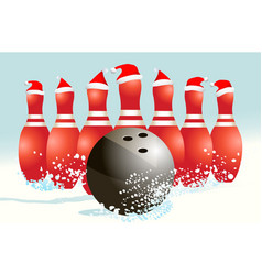 Christmas holiday bowling background vector