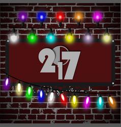 Christmas lights decorations set on black brick vector