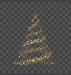 Christmas tree on transparent background gold vector