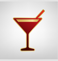 cocktail sign red icon on vector image