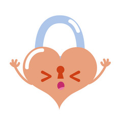 Colorful sleeping heart padlock kawaii personage vector