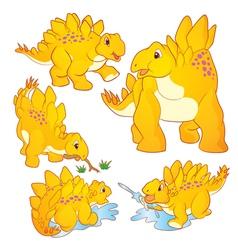 Cute Stegosaurus yellow vector