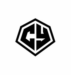 cy monogram logo with hexagon shape and line vector image