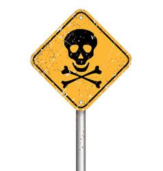 danger skull pole warning sign symbol grunge style vector image