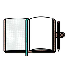 Diary open with pencil vector
