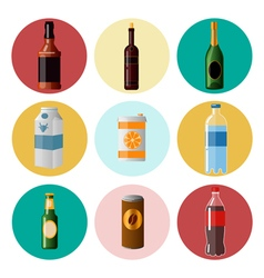Different beverages drinks in ware icons set vector