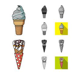 different ice cream cartoonblackflatmonochrome vector image