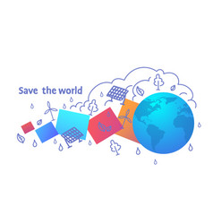 ecology green energy development save the world vector image