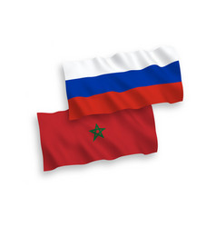 Flags morocco and russia on a white background vector