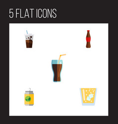 Flat icon drink set of lemonade fizzy drink vector