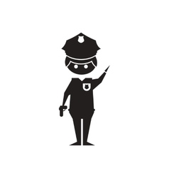 Flat icon in black and white policeman vector